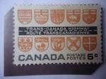 de America - Canadá -  Trans-Canada Highway - Route Transcanadienne - Apertura de Trans-Canadá- Escudos de Armas.