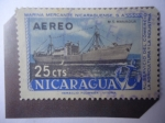 de America - Nicaragua -  M.S Managua. Marina Mercante Nicacaraguense, S.A. -Al serviciuo del Comercio,la Agricultura y la Ind