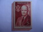 "Stamps : Europe : Monaco :  F.I.P.E.X. - Feria internacional de Sellos en New York - Presidente:Dwigt ""Ike"" David Elisenhower."