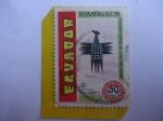 Stamps : America : Ecuador :  Ruminahui 88-(Del Idioma Quechua)-50 años de Cantonización-Ave, Artesanía de Joaquin Tint