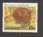 Stamps Australia -  Serpiente del este enrollada a una tortuga