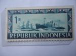 Sellos del Mundo : Asia : Indonesia : República de Indonesia- Barco de Vela y Barco de Motor - Serie: Viena Indonesia.