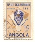 Sellos de Africa - Angola -  Cabeza de Cristo. Exposicion arte sacro misionero. Lisboa 1951.