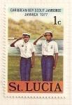 Sellos del Mundo : America : Santa_Lucia : Boy Scouts del caribe. Jamboree Jamaica 1977.