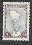 Sellos de America - Argentina -  594 - Mapa de Sudamérica