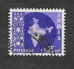 Sellos de Asia - India -  283 - Mapa de la India