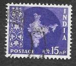 Stamps India -  283 - Mapa de la India