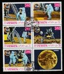 Stamps Yemen -  Colocando la bandera norteamericana
