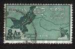 Sellos del Mundo : Asia : Pakistán : Mapa que muestra las áreas en disputa