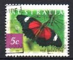 Sellos del Mundo : Oceania : Australia : MARIPOSA  DE  ENCAJE  ROJO