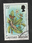 Sellos de Europa - Reino Unido -  Islas Caiman - 462 - Flor y mariposa
