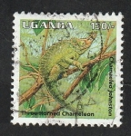 Stamps : Africa : Uganda :  1233 - Reptil, chamaeleo johnston