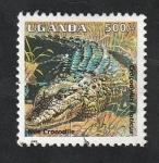 Stamps : Africa : Uganda :  1238 - Reptil crocodylus niloticus