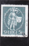 Sellos del Mundo : Europa : Suecia : CABALLERO MEDIEVAL