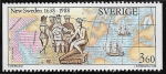 Stamps : Europe : Sweden :  350 New Sweden 1988 Mapa 3,6 kr