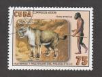 Stamps : America : Cuba :  Hombres y animales del paleolítico