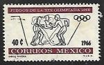 Sellos de America - México -  Juegos Olimpicos de Mejico - Lucha libre