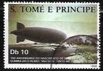 Sellos del Mundo : Africa : Santo_Tomé_y_Principe : Zepelines -150th Aniversario  del nacimiento de  Ferdinand von Zeppelin