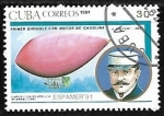 Stamps Cuba -  Zepelin - First with gasoline engine, 1896, H. Wolfert