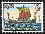 sellos de Asia - Camboya -  Barcos medievales - Norman ship