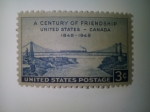 Stamps America - United States -  A century of frienship United - Canada ( 1848-1948)