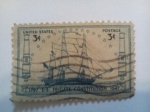 Stamps United States -  1797 U.S. Frgate Contitution 1947