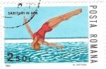Sellos del Mundo : Europa : Rumania : salto en piscina