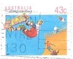 Sellos de Oceania - Australia -  deporte en familia, monopatín