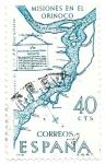 Stamps : Europe : Spain :  Mapas:misiones en el Orinoco