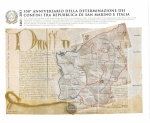 Stamps : Europe : San_Marino :  Mapas:Fronteras definitivas de San Marino