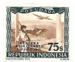 Sellos de Asia - Indonesia -  soldado y avión