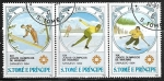 Sellos de Africa - Santo Tomé y Principe -  Juegos Olimpicos : Salto de Esqui - Patinaje de Velocidad -Descenso de esqui