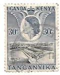 Sellos de Africa - Uganda -  presa e Isabel II