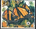 Stamps : America : Mexico :  MARIPOSA  MONARCA,  DANAUS  PLEXIPPUS.  TRES  ADULTAS.