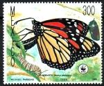 Stamps : America : Mexico :  MARIPOSA  MONARCA,  DANAUS  PLEXIPPUS.  LARVA  ADULTA.
