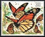 Stamps : America : Mexico :  MARIPOSA  MONARCA,  DANAUS  PLEXIPPUS.  CINCO  ADULTAS.