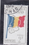 Stamps : Africa : Chad :  Mapa y bandera