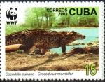 Stamps : America : Cuba :  COCODRILO  CUBANO.  COCODRILO  ADULTO  EN  LA  ORILLA  DEL  AGUA.