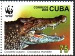 Stamps : America : Cuba :  COCODRILO  CUBANO.  CON  LA  BOCA  ABIERTA.