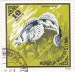 Sellos de Asia - Mongolia -  pez- Amur Sculpin (Mesocottus haitej)