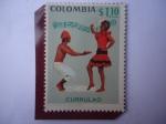 Stamps : America : Colombia :  Currulao - Folclor-Baile Costa Atlántica Colombiano-Vestidos típicos-Melodía Popular.