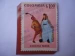 Stamps : America : Colombia :  Chicha Maya-Folclor Guagira Colombiana-Vestidos Típicos-Danza Etnia Guajira.