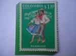 Stamps : America : Colombia :  Bambuco - Folclor Región Andina Colombiana -Vestido Típico y Danza Región Andina.