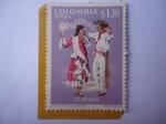 Stamps : America : Colombia :  Cumbia-Folclor Costa Atlántica Colombiana-Vestido Típico y Melodía Costeña.