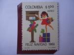 de America - Colombia -  Feliz Navidad 1969 - Niña enviando tarjetas de Navidad