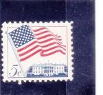 de America - Estados Unidos -  bandera y Casa Blanca