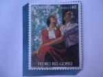 de America - Colombia -  Pedro Nel Gómez (1899-19849-Pintor - Autorretrato con la Esposa.