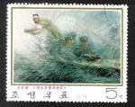 Sellos de Asia - Corea del norte -  Pinturas contemporáneas, anciano sobre el río Raktong
