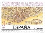 Stamps Spain -  V cent. fundación de las Palmas