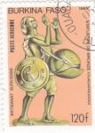 Stamps : Africa : Burkina_Faso :   Músico - estatua de bronce